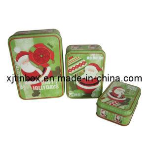 Christmas Rectangle Tin Box Set, Tin Box Set, Metal Box Set for Christmas (XJ-010F)