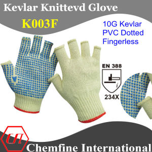 10g Kevlar Knitted Fingerless Glove with PVC Dotted Palm/ En388: 234X pictures & photos