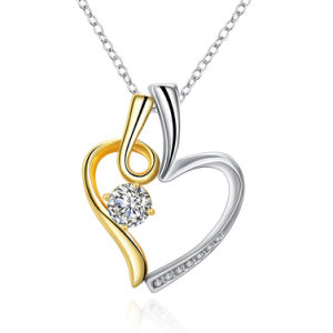 Fashion Design Two Color Heart Crystal Pendant Necklace Gold with Platinum Plated pictures & photos