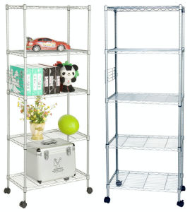 Assembly Adjustable Metal Furniture Wire Book Shelving Rack with Wheels pictures & photos