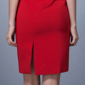Fashion Elegant Ladies Office Wear Dresses Red Short Sleeve Formal Women Slim Fit Dress pictures & photos