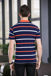 Mecerized Cotton Striped Floral Short Sleeve Classic Fit Casual Polo Shirt Tee Tops pictures & photos