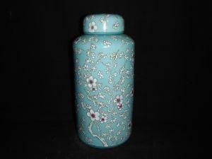 Slim Tea Leaf Ceramic Caddy with Cap/Seal Pot (FB1872)