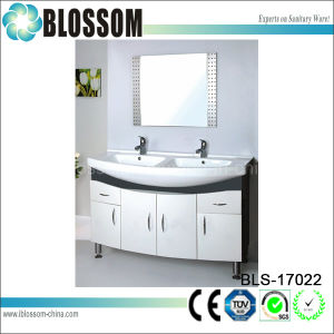Large Size Two Basins PVC Bathroom Vanity Cabinets (BLS-17022) pictures & photos