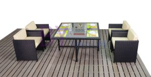 Outdoor Courtyard Leisure Hotel Coffee Bar Dining Table and Chairs with PE Rattan pictures & photos