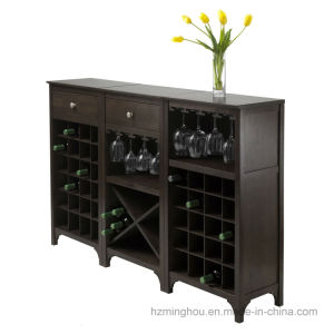 Winsome Wood Wine Rack Modern Wine Cabinet with Glass Rack pictures & photos