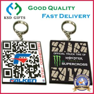 Customized Qr Code Double Sided Rubber Keyrings/Keychains pictures & photos