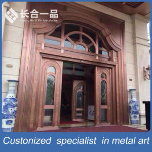 High Quality Main Entrance Front Metal and Tempered Glasses Door pictures & photos