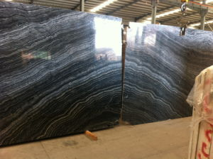 Bookmatch Black Wood Marble Slab for Interior Decoration pictures & photos