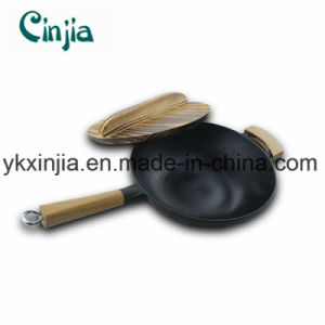Non-Stick Carbon Steel Frying Pan with Wooden Cover pictures & photos