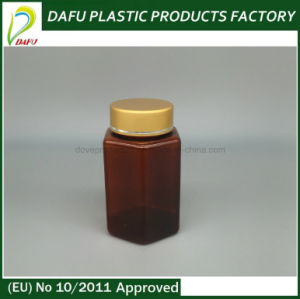 Pet 100ml Plastic Hexagonal Amber Bottle with Gold Cap pictures & photos