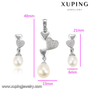 64077 Fashion Rhodium Heart Shaped Pearl Jewelry Set on Sales Promotion pictures & photos