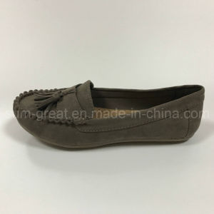 New Casual Flat Heel PU Lady Boat Shoes pictures & photos