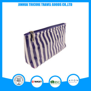 Clear PVC White Stripes New Cosmetic Bag Wash Bag Tiolet Bag pictures & photos