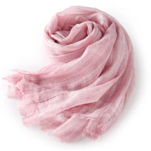 Hot Sale Soft Linen Cotton Woven Striped Scarf / Shawl (HWBLC06) pictures & photos