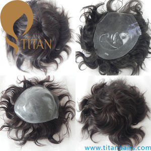 Top Quality Thin Skin Indian Remy Hair Men′s Toupee pictures & photos