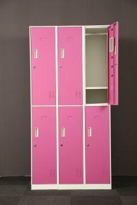 Gym Locker Suppliers 6 Door Steel Pink Wardrobe Closet pictures & photos