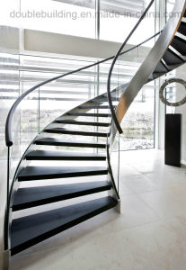 Classic Elegant European-Style Stainless Steel Curved Staircase Arc Marble Stairs pictures & photos