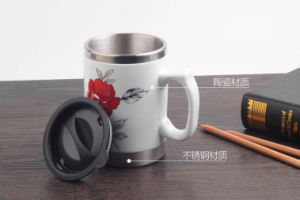 Stainless Steel Coffee Travel Mug with Ceramic Outer and Handle pictures & photos