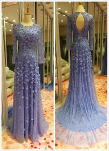 Top Sale EU 32-40 Heavy Beading Sky Blue Evening Dress pictures & photos
