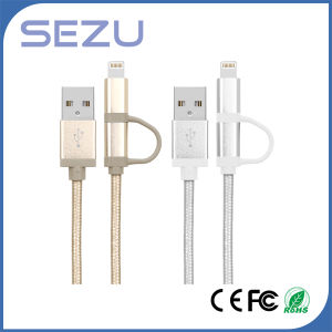 Factory Directly 2 in 1 Mfi Certificated USB Charging and Data Braided Cable for iPhone and Android (Silver) pictures & photos