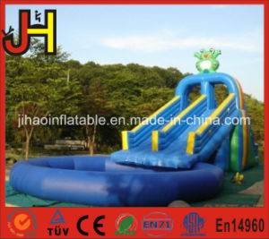 Double Lane Inflatable Frog Slide with Swimming Pool pictures & photos