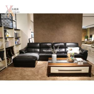 Black Leather Sectional Sofa (1651A#)
