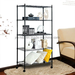 5 Tier Wire Shelving Unit, Adjustable Steel Wire Rack Shelving, 5 Shelves Storage Rack with Wheels & Stable Leveling Feet, Black pictures & photos
