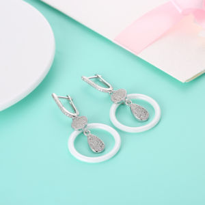 Ceramic and 925 Sterling Silver Women Earrings Ceramic Earrings for Women Silver Jewelry pictures & photos