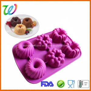 Wholesale Six Cavity Silicone Flower Cupcake Pan