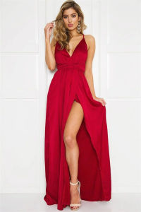 Women Sleeveless Deep V Neck Red Viscose Dress (A121)