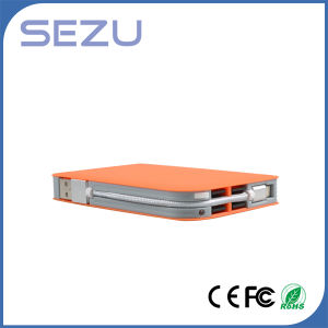 Built-in Cable High Capacity 8000mAh Orange Leather Texture Notebook Power Bank pictures & photos