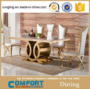 Modern Top Marble Dining Table with Wooden Cabinet (A8054)