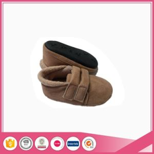 Brown Micro Suede Kids Indoor Shoes pictures & photos