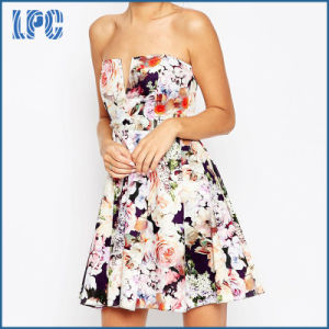 Fashion Beautiful Floral Sublimation Evening Dress with V-Plunge Neck pictures & photos