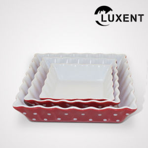 Modern Ceramic Fruit Colorful Wavy Shape Cake Pan Sizes pictures & photos