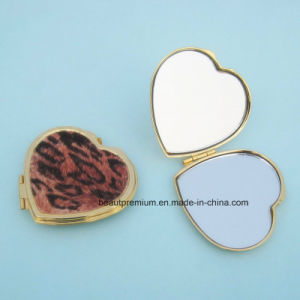 Fashion Heart Shape Velvet Leopard Print Pattern Packet Makeup Mirror BPS0222