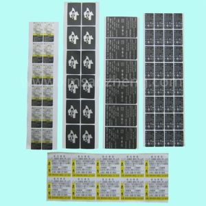 Black Printed Pet Electrical Self-Adhesive Label Sticker pictures & photos