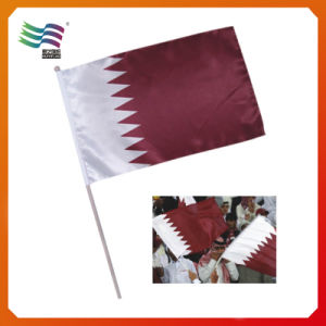 Printing Polyester National Qatar Hand Flag pictures & photos