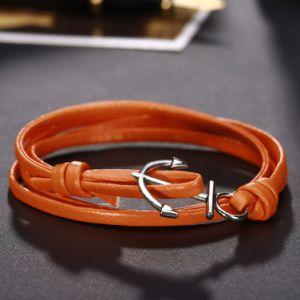Promotional Gift Simple Design Alloy Anchor Orange Leather Bracelets pictures & photos