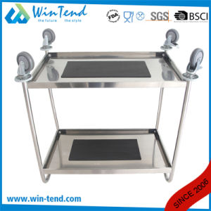 Stainless Steel Hand Pushing 2 Tiers Full Size Kitchen Catering Trolley with Wheels pictures & photos