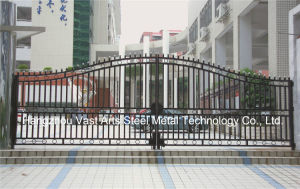 Haohan High-Quality Exterior Security Decorative Wrought Iron Fence Gate 5 pictures & photos