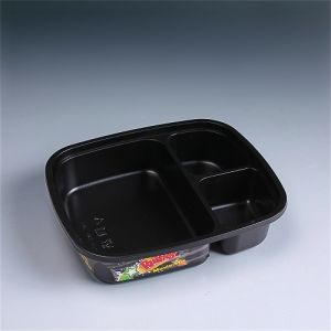 3-Compartment Bento Lunch Box Disposable Safe Plastic Food Container