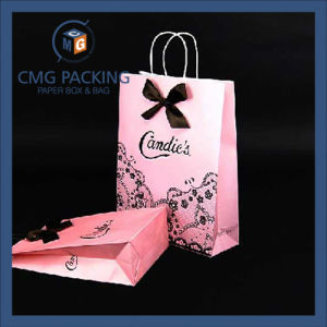 Pink Color Black Hot Stamping Paper Shopping Bag (CMG-PGBB-012) pictures & photos