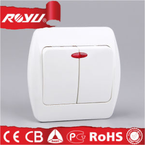 Double Switch with Lighting, Energy Saving Power Button Switch pictures & photos