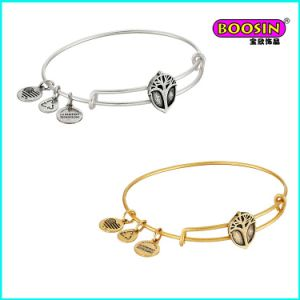 New Design Custom Logo Charm Brass Expandable Wire Bangle pictures & photos