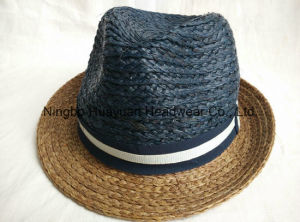 100% Raffia Sewn Braid Fedora Straw Hat