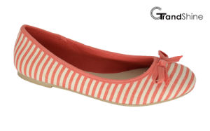 Women′s Stripe Printed Canvas Flat Casual Ballet Shoes pictures & photos