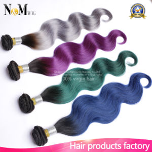 7A Ombre Indian Body Wave Best Green/Grey/Purple/Blue Color Human Hair pictures & photos