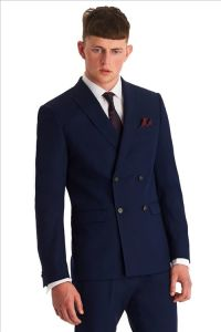 Slim Fit Blue Double Breasted Coat Pant Suit for Men pictures & photos